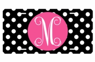 Black Polkadot Monogrammed Car Tag