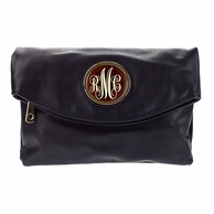 Black Samantha Monogrammed Clutch Handbag