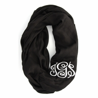 Black Solid Monogram Infinity Loop Scarf