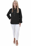 Black Solid Tunic Blouse