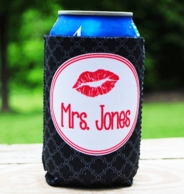 Black Trellis Mrs Wedding Coozie