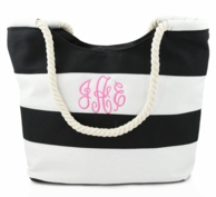 Black & White Stripe Monogrammed Beach Tote with Rope Handles
