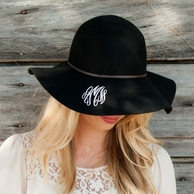 Black Wool Monogrammed Floppy Hat