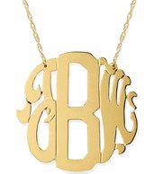 Block and Script Mixed Fonts Neo Classic Monogram Necklace