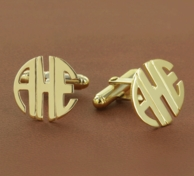 Block Monogram Mens Cufflinks- Gold Or Silver