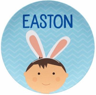 Blue Bunny Ears Boy Personalized Easter Plate