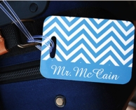 Blue Chevron Mr Personalized Luggage Tag