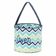 Blue Chevron Personalized Easter Bucket