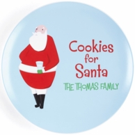 Blue Cookies For Santa Personalized Christmas Plate