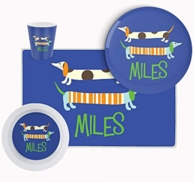 Blue Dachsunds Personalized Kids Tableware Set