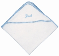 Blue Gingham Trim Personalized Hooded Baby Towel