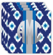 Blue Ikat Metallic Monogram Coasters - SET OF 4