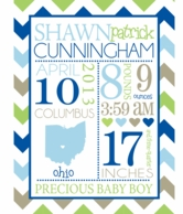 Blue Personalized Birth Announcement Plush Blanket