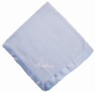 Blue Satin Trimmed Personalized Baby Blanket