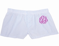 Blue Seersucker Monogrammed Flannel Bitty Boxer Shorts