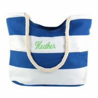 Blue Stripe Monogrammed Canvas Tote