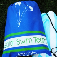 Blue Swim Personalized Drawstring Backpack