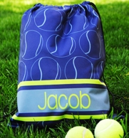 Blue Tennis Personalized Drawstring Backpack