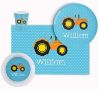 Blue Tractor Personalized Kids Tableware Set
