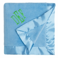 Blueberry Monogrammed Satin Trim Microfleece Blanket