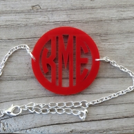 Bordered Monogram Acrylic Bracelet
