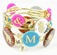 Bourbon & Bowties Wire Wrapped Initial Bangles