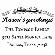 Bow Seasons Greetings Personalized Holiday Address Stamper