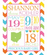 Bright Baby Birth Announcement Personalized Plush Blanket