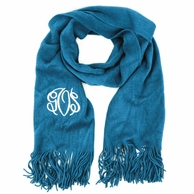 Bright Teal Soft As A Sweater Monogrammed Scarf