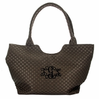 Bronze Woven Vegan Leather Monogrammed Handbag Tote