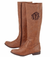 Monogrammed Brown Tall Leather Boots