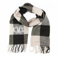 Brown & Beige Checkerboard Cashmere Soft Monogrammed Scarf