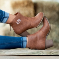 Brown Monogrammed Ashlyn Boots