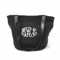 Brown Monogrammed Crochet Handbag