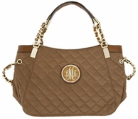 Brown Monogrammed Grace Kelly Quilted Handbag