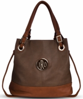 Brown Monogrammed Lauren Bucket Handbag