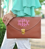 Brown Monogrammed Leather Envelope Clutch / Chain Purse