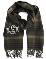 Brown Plaid Cashmere Soft Monogrammed Scarf