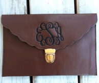Brown Scalloped Edge Monogrammed Clutch