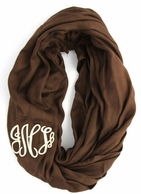 Brown Solid Monogram Infinity Loop Scarf