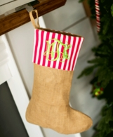 Burlap Red Stripe Personalized Christmas Stocking