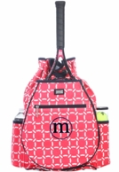 Cabana Coral Monogrammed Tennis Backpack
