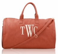 Camel Faux Luxe Leather Monogrammed Duffel Bag