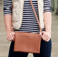 Camel Leather Monogrammed Crossbody Purse