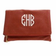 Camel Luxe Monogrammed Foldover Clutch