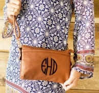 Camel Monogrammed Bree Crossbody Purse