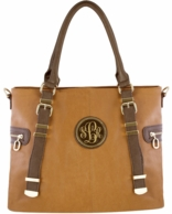 Camel Monogrammed Elizabeth Vegan Leather Handbag