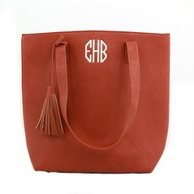 Camel Monogrammed Luxe Tall Tassel Tote