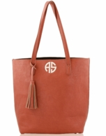Camel Monogrammed Luxe Tote