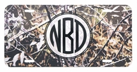 Camo Circle Monogram Car Tag